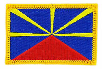 FLAG PATCH PATCHES REUNION ISLANDS FRANCE  COUNTRY  IRON ON EMBROIDERED SMALL