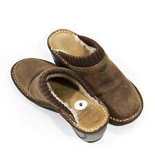 UGG Women's Gael Clogs/Mule Size 8 Sheepskin Shearling Lined Brown Leather #3085