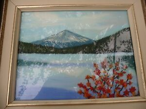 Vintage Hand Made Needle Point Textile Fabric Art Work Mountain Nature Scene