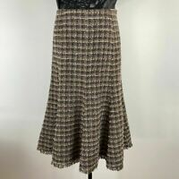 Ashley Fogel Womens Multicolor Lined Fringe Edged Tweed Flared Skirt Size 10