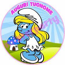 Cialda - Ostia per torte Puffetta Puffi - tonda e personalizzabile! Anche A3
