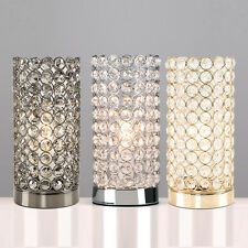 Crystal Cylinder LED Touch Dimmer Table Lamp Chrome Gold Lounge Lighting Bulb
