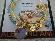 Alex and Ani MERMAID ART INFUSION SET Shiny Gold Bangles New W/Tag Card & Box