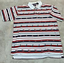 VTG Tabasco Polo Golf Shirt Men's SZ 2XL All Over Print Striped USA Flags Rare