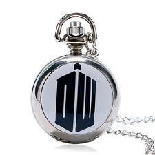 Mini Doctor Who Movie Pattern Men Women Quartz Pocket Watch Necklace Chain Gift
