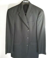 AUSTIN REED  Imported Men's Sport Coat 40R 3 Button Wool Black Jacket Blazer