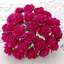 10 Mulberry Paper Rose Flowers 15mm With Wire Stems For Card Making Craft