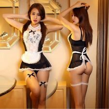 New Women Cosplay Babydoll Nightwear Lingerie French Maid Dress G-string Costume