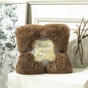 Luxury Plush Faux Fur Throw Blanket Long Pile Golden Brown Black Tipped