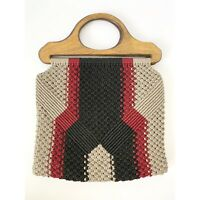 Vintage Crocheted Tote Handbag With Wooden Handles Boho Rare One Of A Kind