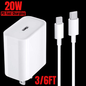 20W PD USB Type-C Fast Charger Cable Power Adapter for iPhone 12 11 XS X XR 8 SE