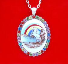 Porcelain UNICORN Mom & Baby CAMEO Silvertone Pendant Necklace w/ Rhinestones