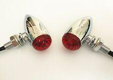 Mini Red LED 3 Wires Turn Signal Blinker Light Chrome Bullet Motorcycle