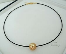 HS Huge Golden South Sea Cultured Pearl 12.3mm & Leather Choker Necklace Top