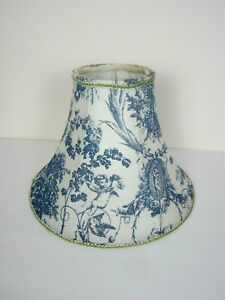 Vintage French Country Toile Lampshade Blue+White Cherub Cameo Floral Preowned