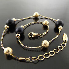 ANKLET GENUINE REAL 18K YELLOW G/F GOLD SOLID LADIES ONYX BEAD BALL DESIGN