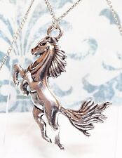 """JUMPING HORSE_Large Pendant on 18"""" Chain Necklace_Pony Equestrian Western_43N"""
