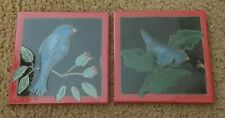 "Set of Two Blue Bird Art Tiles with Red Border Signed  Elaine Cain 6"" X 6"""