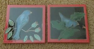 """Set of Two Blue Bird Art Tiles with Red Border Signed  Elaine Cain 6"""" X 6"""""""