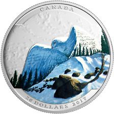 2017 Snowy Owl Landscape Illusion 1OZ Pure Silver $20 Proof Coin Canada
