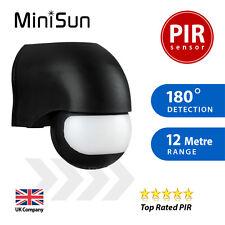 Ip44 Outdoor PIR 180 Degree Security Motion Sensor Detector - Black by MiniSun