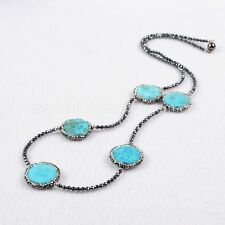 1 Strand Five Natural Round Turquoise Bead Necklace & CZ Black Chain QJA205