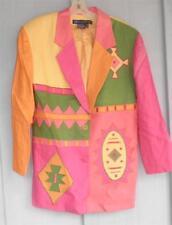 IB DIFFUSION Pink Jacket Size 10 Linen Multicolored  Beautiful Aztec SW Applique