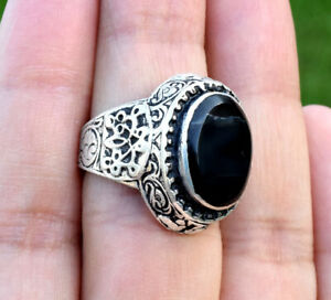 Kuchi Black Onyx Stone Ring Tribal Ethnic Bohemian Carved Silver Afghan Boho