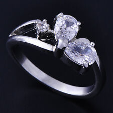 Pretty Womens Wedding  White Gold Filled 2-Clear Teardrop CZ Love Ring Size 6