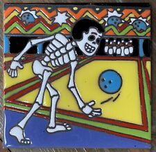 "1 Talavera Day of  the Dead 4"" tile Bowling ball pins league strike lanes Man"