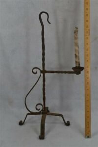 old primitive candle stand holder hand made table top 18th 19th c original