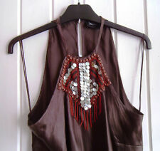 LADIES BROWN SILK, SLEEVELESS BEADED NECKLINE EVENING TOP BY PRINCIPLES -SIZE 14