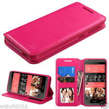 For HTC Desire 626 / 626s / 530 Folio Pouch Wallet w/ID Slot Cover Hot Pink