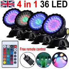 4 Lights RGB LED Underwater Spot Light Aquarium Garden Fountain Pond Pool Lamp