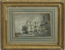 OLD MASTER EUROPEAN  DRAWING / WATERCOLOR MOTHER DAUGHTERS PASTORAL SCENE SIGNED