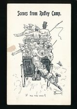 Military comic WW1 ROFFEY CAMP transport artist line drawn PPC fault to front
