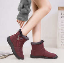 Winter Women Warm Snow Boots Shoes Fur-lined Slip On Waterproof Ankle Shoes
