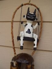 Painted Black and White Cow on a Swing and Coco Top Bamboo Wind Chimes Free Ship