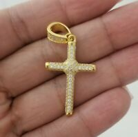 14k Yellow Gold Crystals Cross Charm Pendant