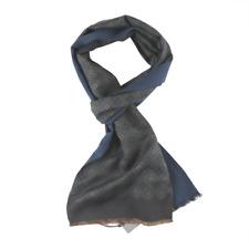 $175 NWT BOGLIOLI Smoke Gray Blue Medallion Pattern Silk Wool Fashion Scarf