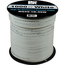 1000' Feet  RG59 Coaxial Coax Cable Spool Wire Bulk- White