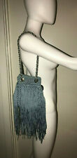 $595 M MISSONI SKY BLUE FRINGE CROCHET GOLD CHAIN EDITORIAL BAG PURSE SAC