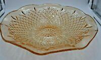 "Vintage Indiana Marigold Carnival Glass Serving Iridescent Bowl Diamond 11"""
