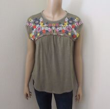 Hollister Womens Floral Embroidered Peasant Top Size XS Green Shirt Blouse