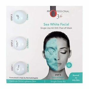 O3+ PROFESSIONAL SEA WHITE FACIAL WITH PEEL OFF MASK FOR DULL OILY ACNE SKIN
