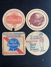 Lot Of 4 Beer Coasters 1960's Vintage 1970's Schaefer Schlitz Pabst
