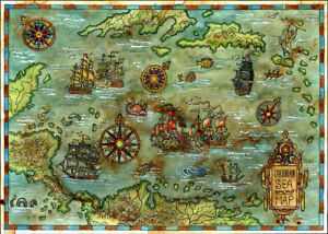 1000 Pcs Puzzle Comic Retro Caribbean Sea Map Jigsaw Adult Kid Educational Toys
