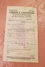 London & Lancashire Fire Insurance Company - 1917 Cover Note