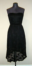 BRAND NEW Strapless Black Stretch Lace Dress Lined Padded Bra Size 10 Eur 38
