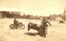 WWII German Army Sepia RP- Soldier Rides Sidecar Motorcycle- Lifts Wheel in Air